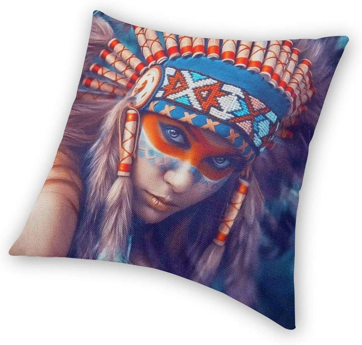 WAZHIJIA Decorative Throw Pillow Covers 18 X 18 Inch,Cotton Linen Cushion Cover Square Pillow Cases for Car Sofa Home Decor Native American Girl