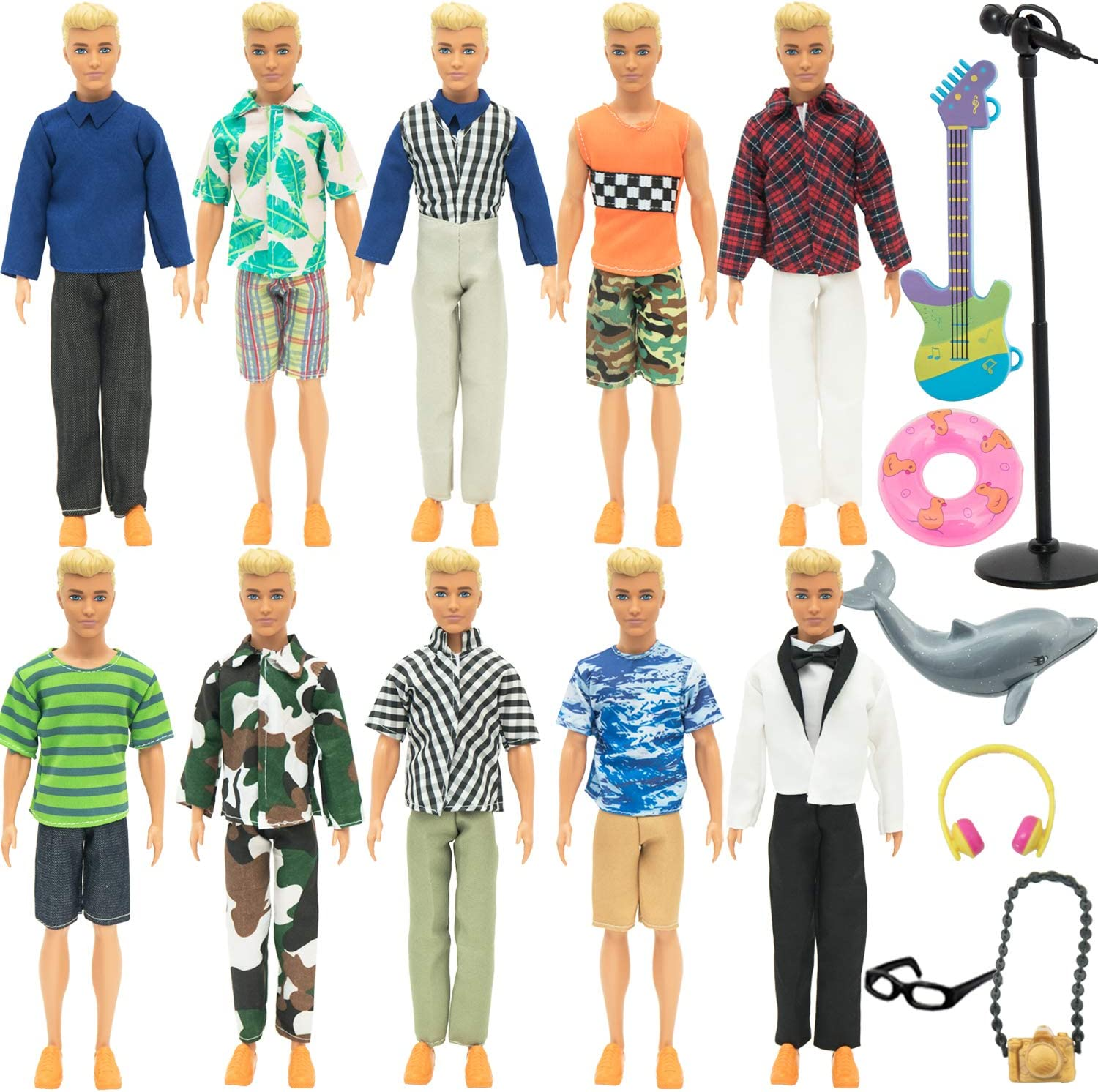 SOTOGO 27 Pieces Doll Clothes Set Include 10 Set Doll Casual/Career Wear Clothes Jacket Pants Outfits with Surfboard and Doll Accessories for Ken Dolls