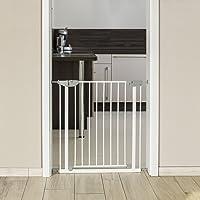 Reer Pressure-Mounted Metal I-Gate with Simple Lock, White, Light Grey
