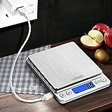 CHWARES Digital Kitchen Scales,USB Charging, 3Kg/0.1g Mini Food Scales, Electric Cooking Scales, Waterproof Digital…