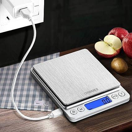 CHWARES Bilancia Cucina Digitale con Carica USB,Bilance per Alimentari Elettronica ad Alta Precisione 3kg 0.1g,Multifunzione Peso Cucina con,mini