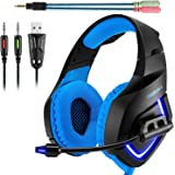 ONIKUMA Gaming Headset, 3.5mm Stereo K1 Ear Headphone with Microphone for xbox one S/PC/PS4/Mobile Phones/Laptop Computer with LED Lighting (Blue)