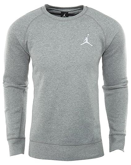 e562ea7b878b Nike Mens Jordan Flight Crew Fleece Sweatshirt Light Grey White 823068-063  Size 2X-Large  Buy Online at Low Prices in India - Amazon.in