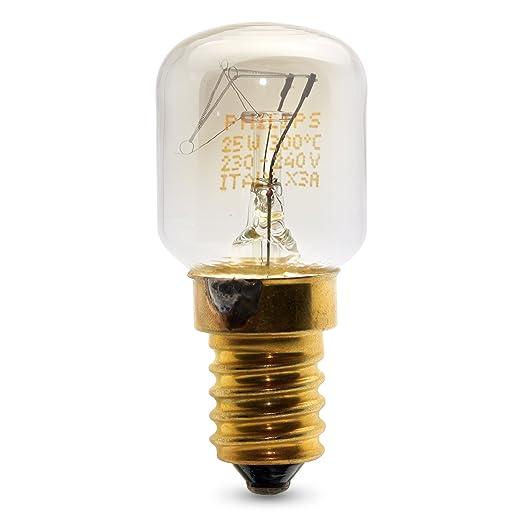 Juego de 3 bombillas Philips pequeñas de 25 W SES con rosca E14 para microondas u hornos de menos de 300 ºC.