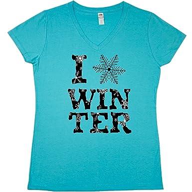 d358d87f1 Amazon.com: inktastic - I Love Winter- Black and White Junior V-Neck ...