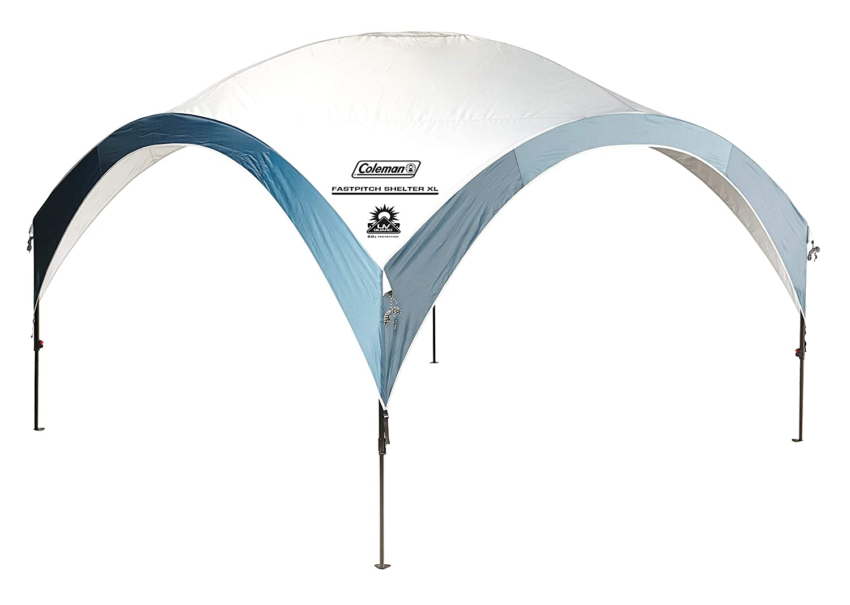 Coleman Fast Pitch Shelter XL 4,5 x 4,5 m, Pavillon, stabiles Partyzelt mit Stahlgestänge, Gazebo, Eventzelt, Sonnenschutz mit LSF 50+, hellgrau-blau