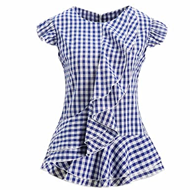 5fa7f0c015306d AOMEI Women Sleeveless Plaid Blouses Ruffles Vintage Gingham Peplum Top  Shirts (XS, Blue)