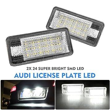 alftek 2 piezas/juego de lámpara LED coche matrícula de licencia luces para A3 S3 A4 B6 B7 A6 S6 A8 RS4: Amazon.es: Coche y moto