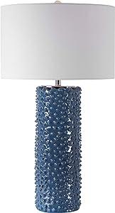 MY SWANKY HOME Knobbed Indigo Blue Textured Table Lamp Cylinder Coastal Denim White Elegant
