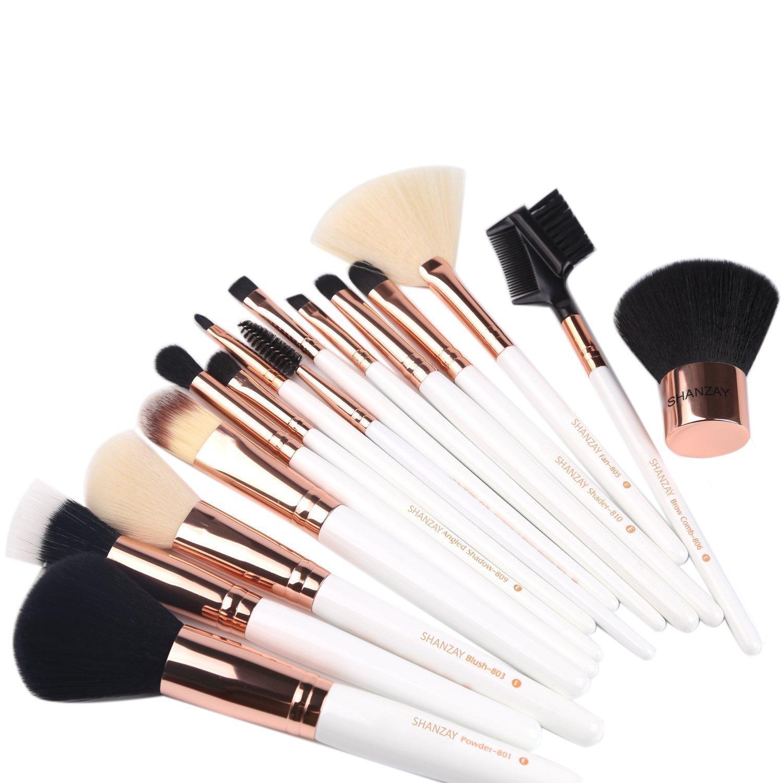 SHANZAY Makeup Brushes Set 15 Piece Rose Gold Professional Makeup Brush Set Kit with Cosmetic Contour Lip EyeShadow Powder Blending Fan Brush by SHANZAY TDot Brands