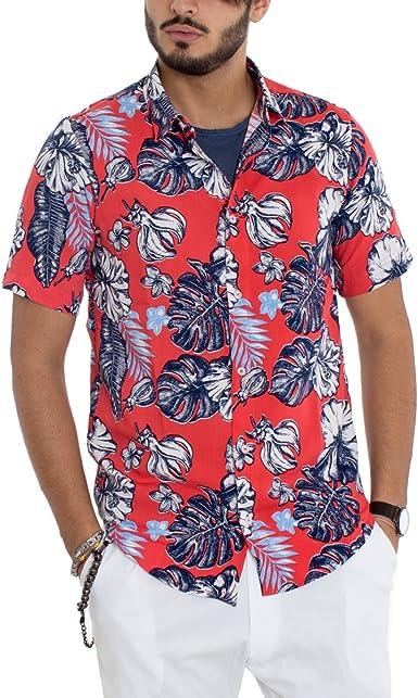 Giosal - Camisa para Hombre Modelo Cuello fantasía Floral Fondo Rojo Media Manga Casual algodón Rojo S: Amazon.es: Ropa y accesorios