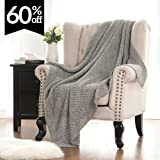 "Knitted Throw Blanket for Sofa and Couch, Lightweight, Soft & Cozy Knit Throws - Heather Grey, 50""x60"" by Bedsure"