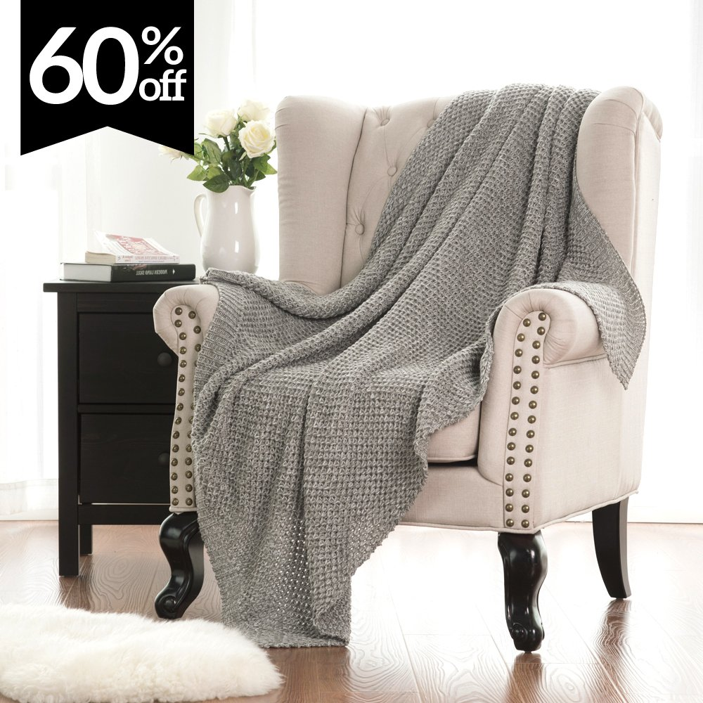 Knitted Throw Blanket for Sofa and Couch, Lightweight, Soft & Cozy Knit Throws - Heather Grey