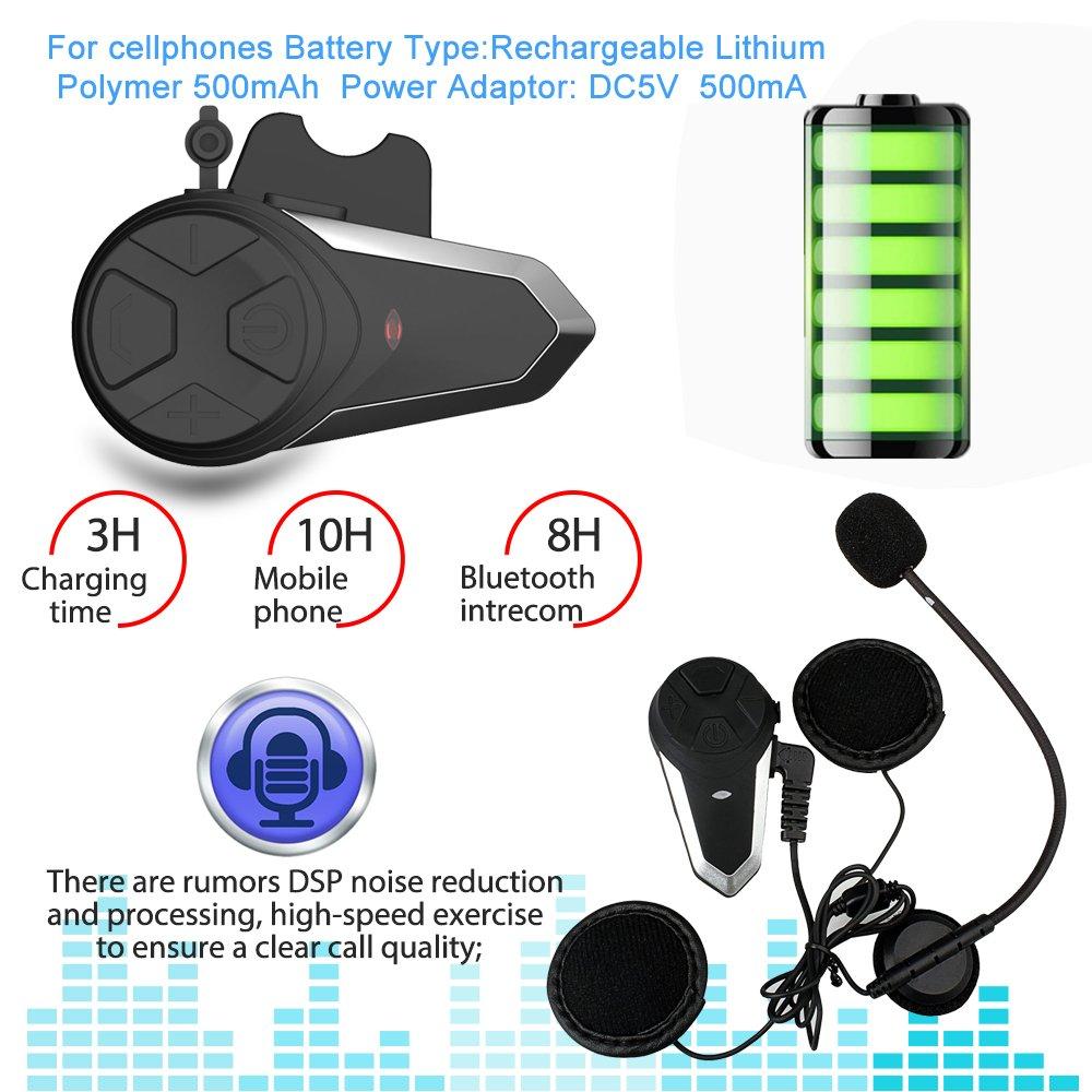 2 Paquets de Casques Souple Casque de Moto Intercom BT-S3 Interphone Casque de Moto en Temps r/éel Syst/ème de Communication Mains Libres Radio FM /étanche Interphone Bluetooth