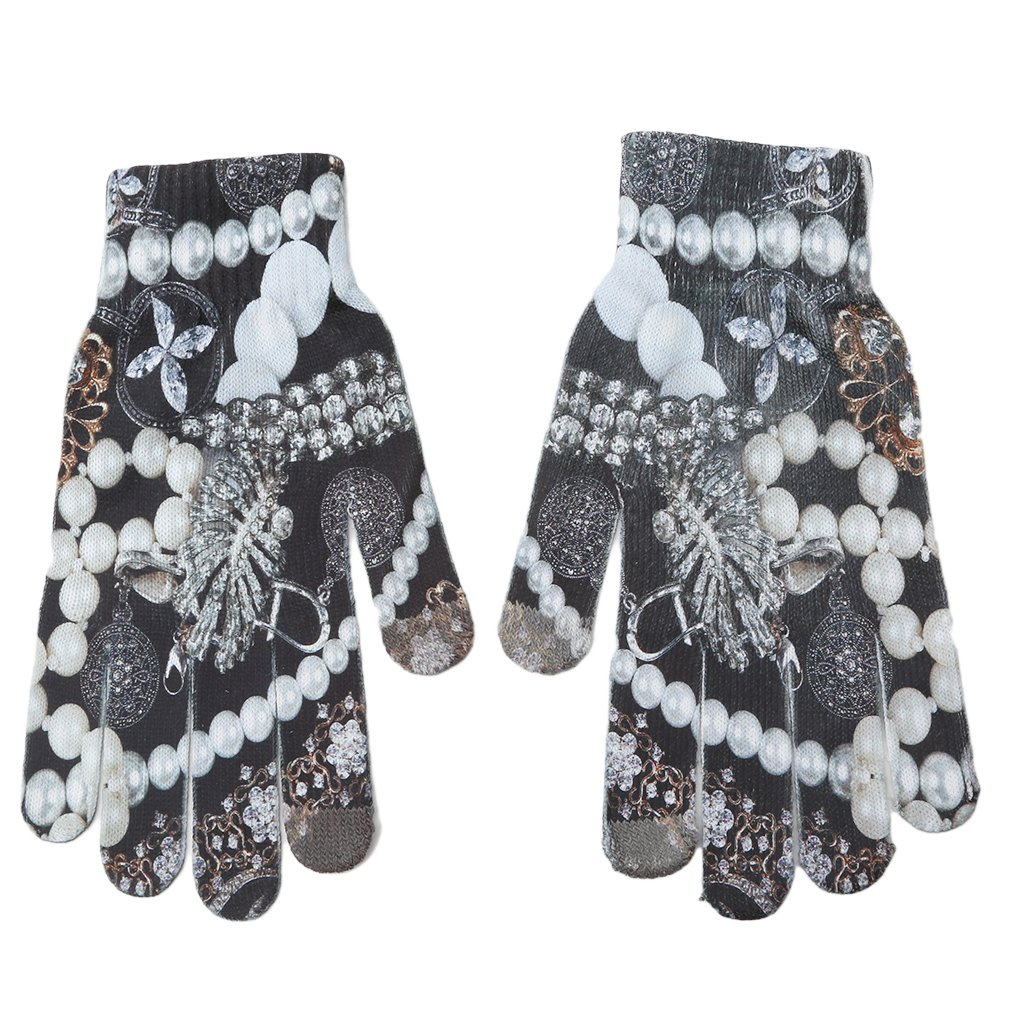 Myhouse 3D Unisex Touchscreen Knit Gloves Adult Winter Cold Weather Warm Gloves (Style 4)