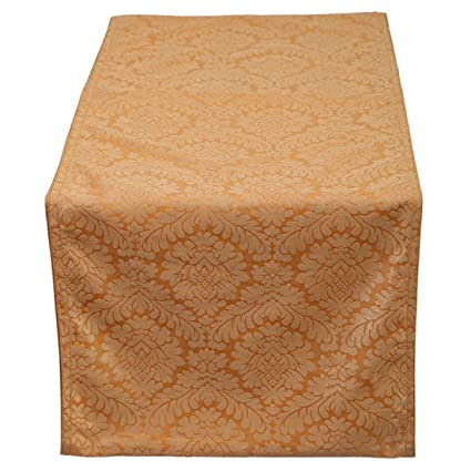 Table Runner Damask (Beige, 14x120 Inch) Perfect For Extra Long Table, Round