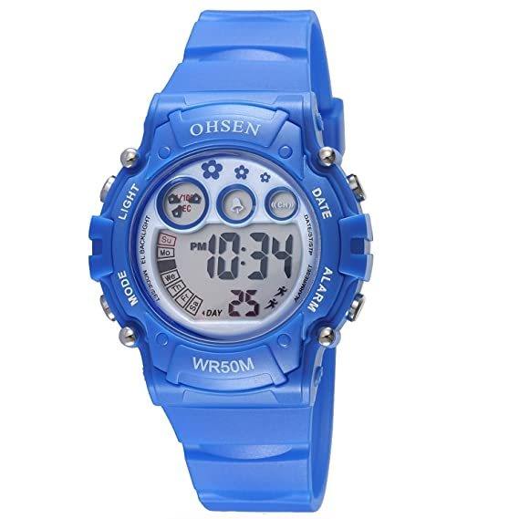 09be2b191d1b Infantiles Niños Niñas Relojes Deportivos Impermeable Digital Led  Multifunción Al Aire Libre Reloj De Pulsera Azul  Amazon.es  Relojes