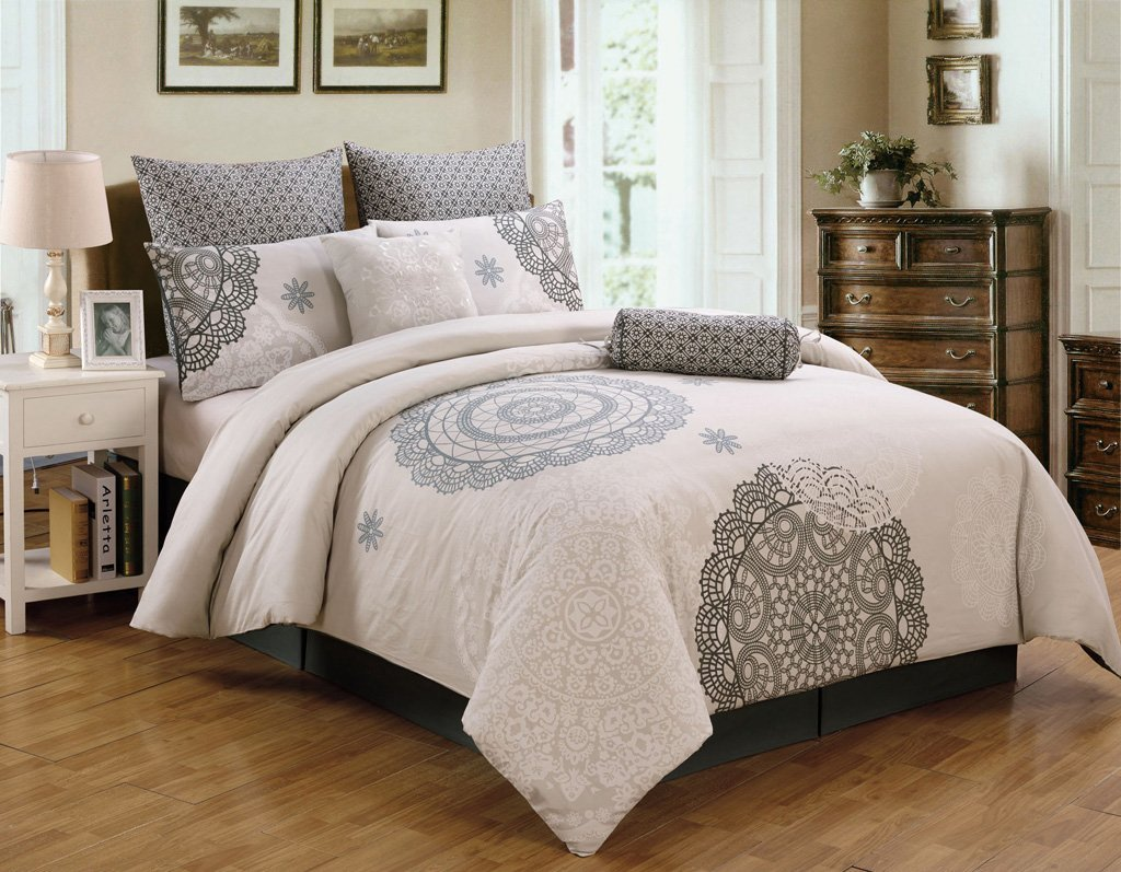 Amazon com  8 Piece Queen Antheia 100  Cotton Comforter Set  Home   Kitchen. Amazon com  8 Piece Queen Antheia 100  Cotton Comforter Set  Home