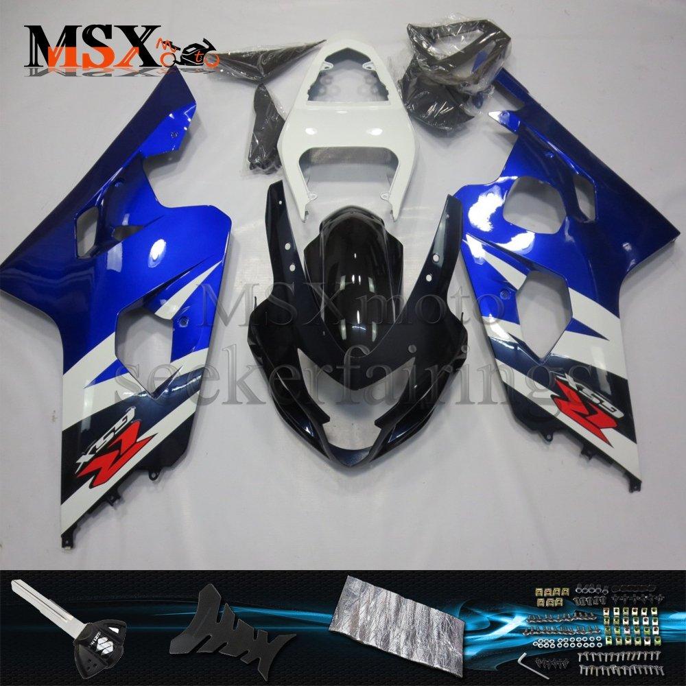 MSX-moto 適応ホンダ Suzuki GSXR600 GSXR750 K4 GSX-R600 GSX-R750 04 05 GSXR 2004 2005年 小R 外装パーツセット ABS射出成型完全なオートバイ車体 青/ブルーのボディ   B07F29NZYD