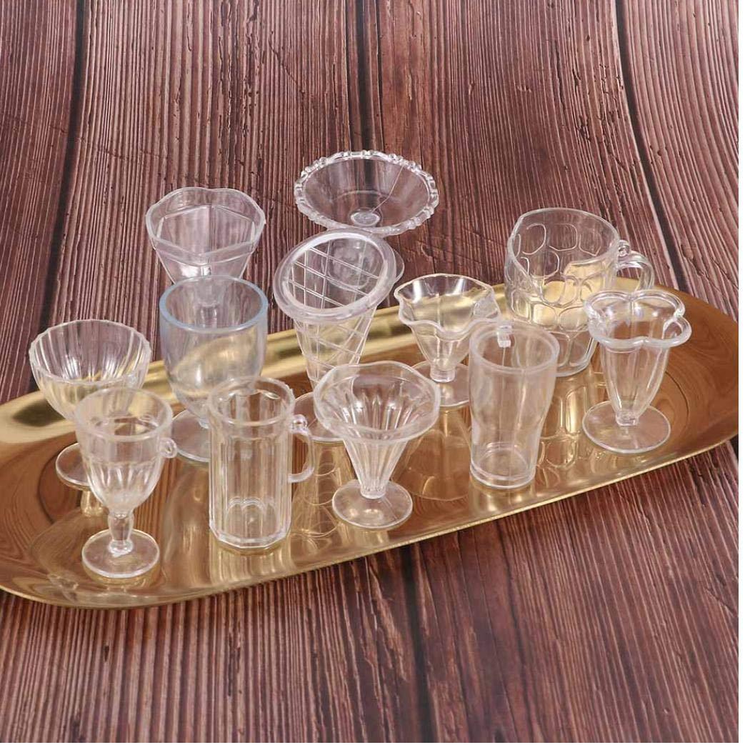 Set casa de mu/ñeca Transparente Copas Mini miniaturas de pl/ástico Vajilla de Hielo Delicado Helado Copa de Manualidades para Regalos para ni/ños 12pcs
