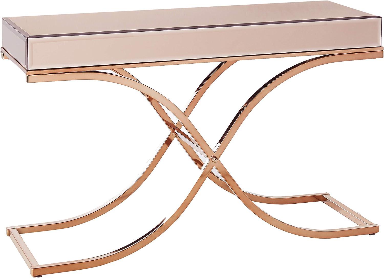 Furniture of America Dorelle Contemporary Glass Top Sofa Table, Brass