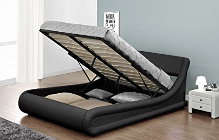 New Exclusive Rio Designer Ottoman Curved Storage Bed 46 Double 5ft King Black