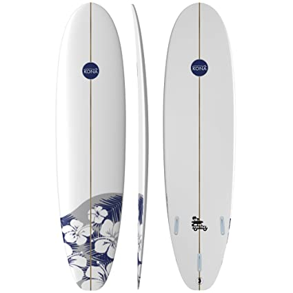 Kona Surf Co Everyday Surfboard in White/Navy Flowers sz:7ft 6in
