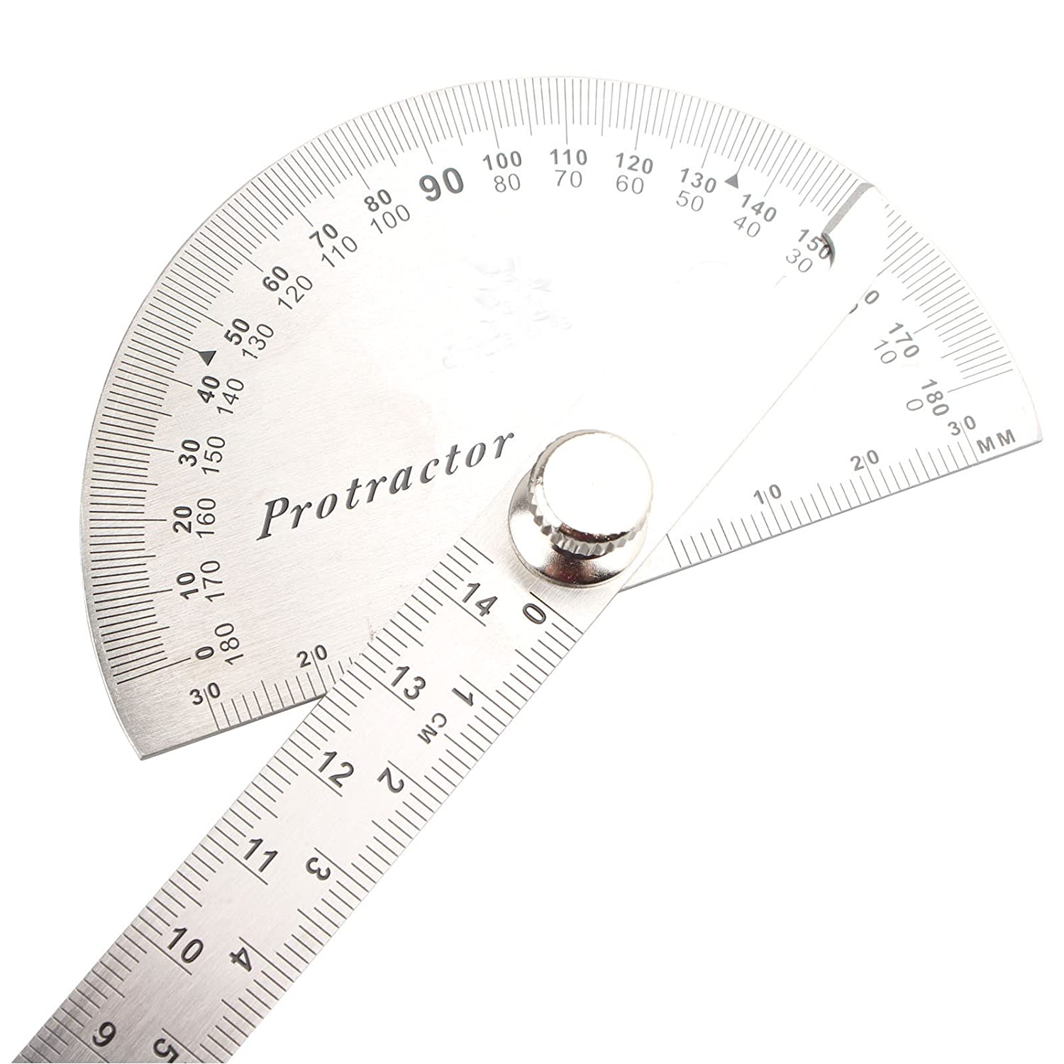 Stainless Steel Protractor Ruler 0 to 180 Degree Metric Rotary Measuring Angle Ruler for Carpenter Woodworking Tool Painting Drawing Measuring