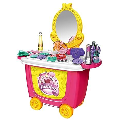 Cute colorido niños simulación de la barbacoa helado tienda aparador carro fingir juguete juego de rol