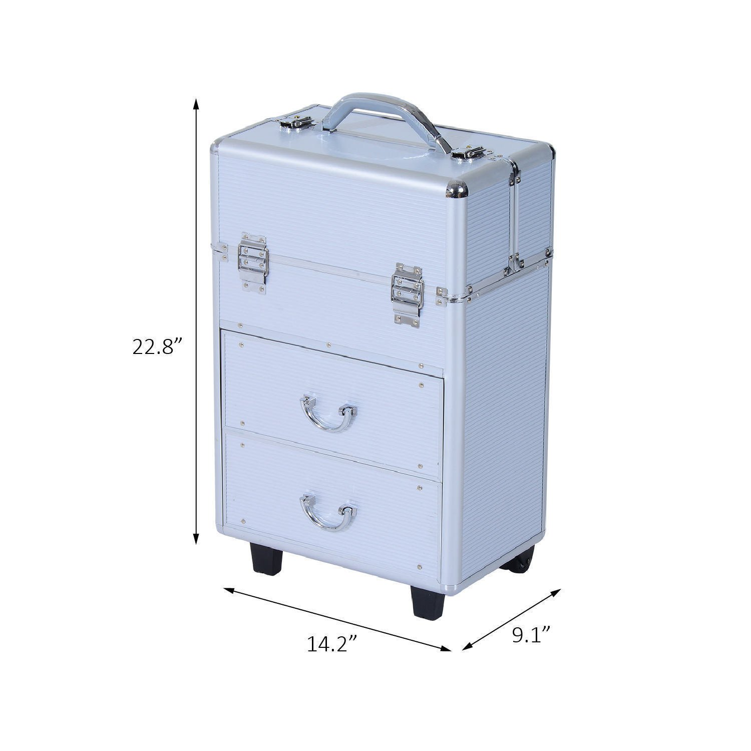 Soozier Rolling Cosmetic Makeup Train Case - Silver
