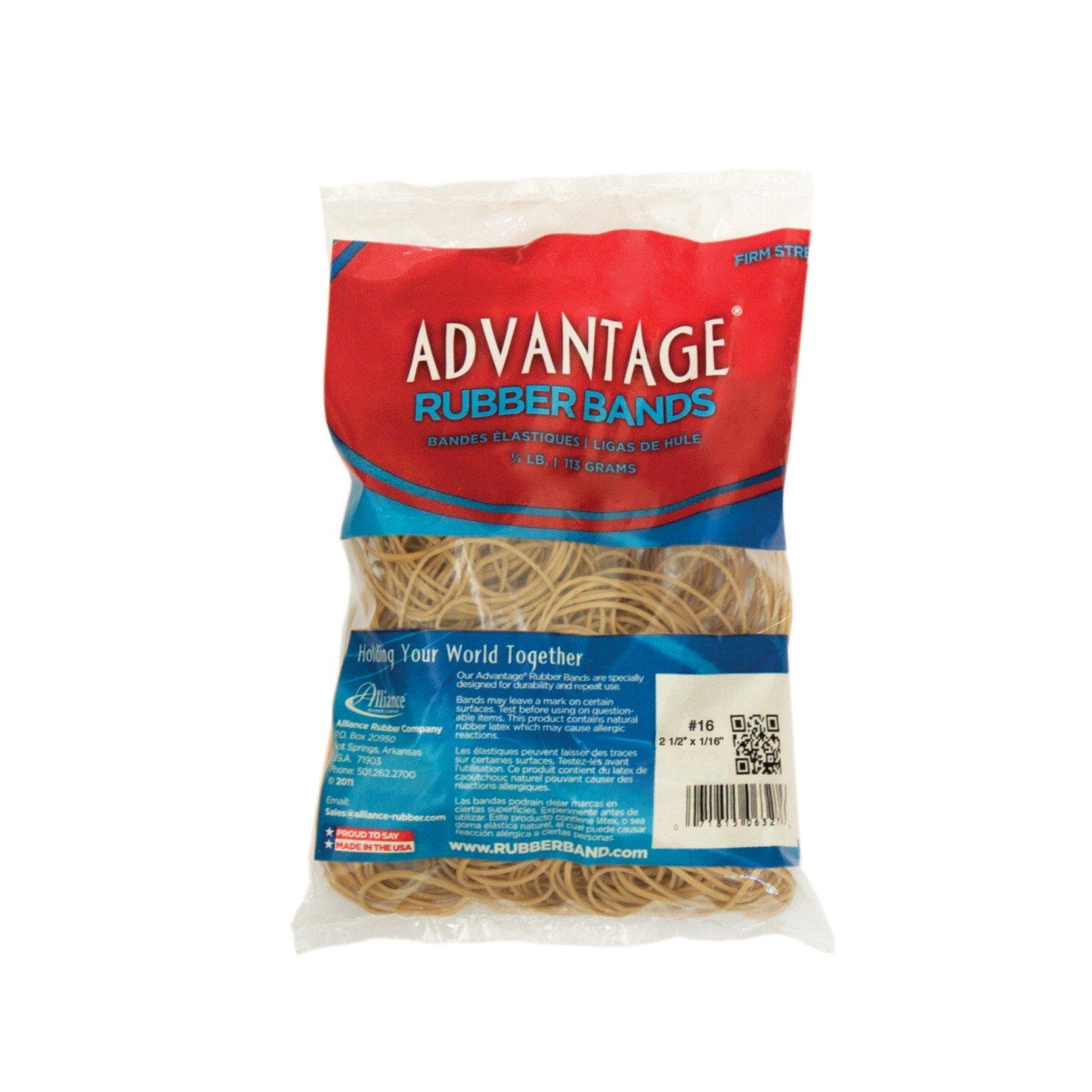Alliance Advantage Latex Rubber Band, No 16, 2-1/2 x 1/16 Inches, 1/4 lb Box, Natural