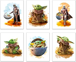 Baby Yoda Mandalorian Prints - Set of 6 (8 inches x 10 inches) Wall Art Decor Poster Photos - Star Wars TV Series Pedro Pascal