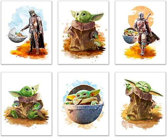 Baby Grogu Mandalorian Prints Set Of 6 8 Inches X 10 Inches Wall Art Decor Poster Photos Star Wars Tv Series Pedro Pascal The Child Baby Yoda Posters Prints