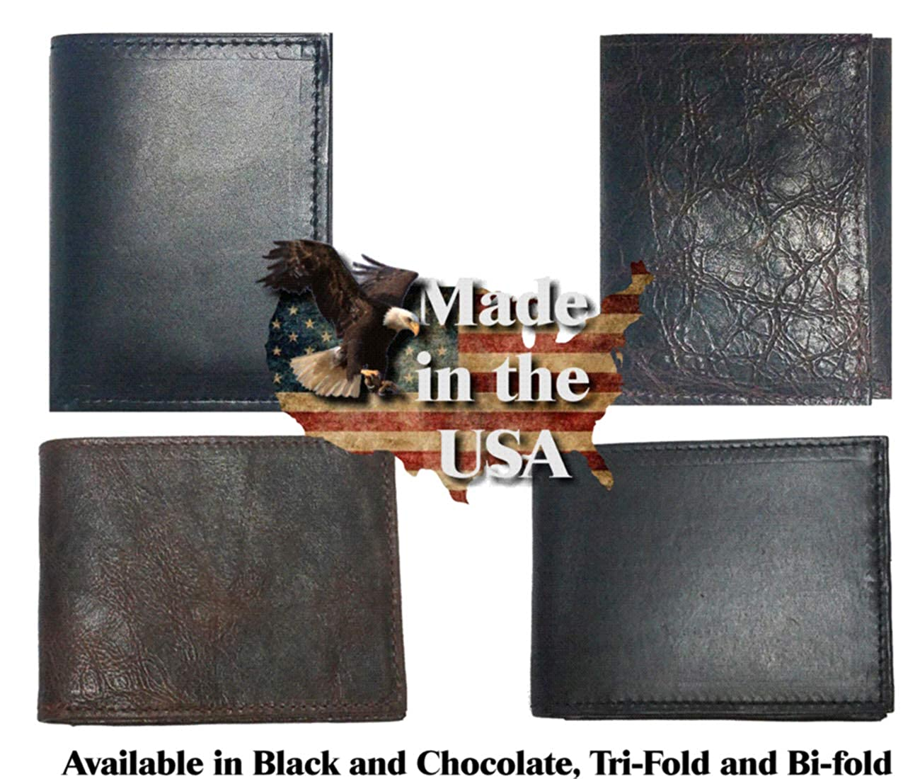 Proudly made in the USA. Custom Texas Praying Cowboy Church Concho on a Black Harness Leather Trifold Wallet
