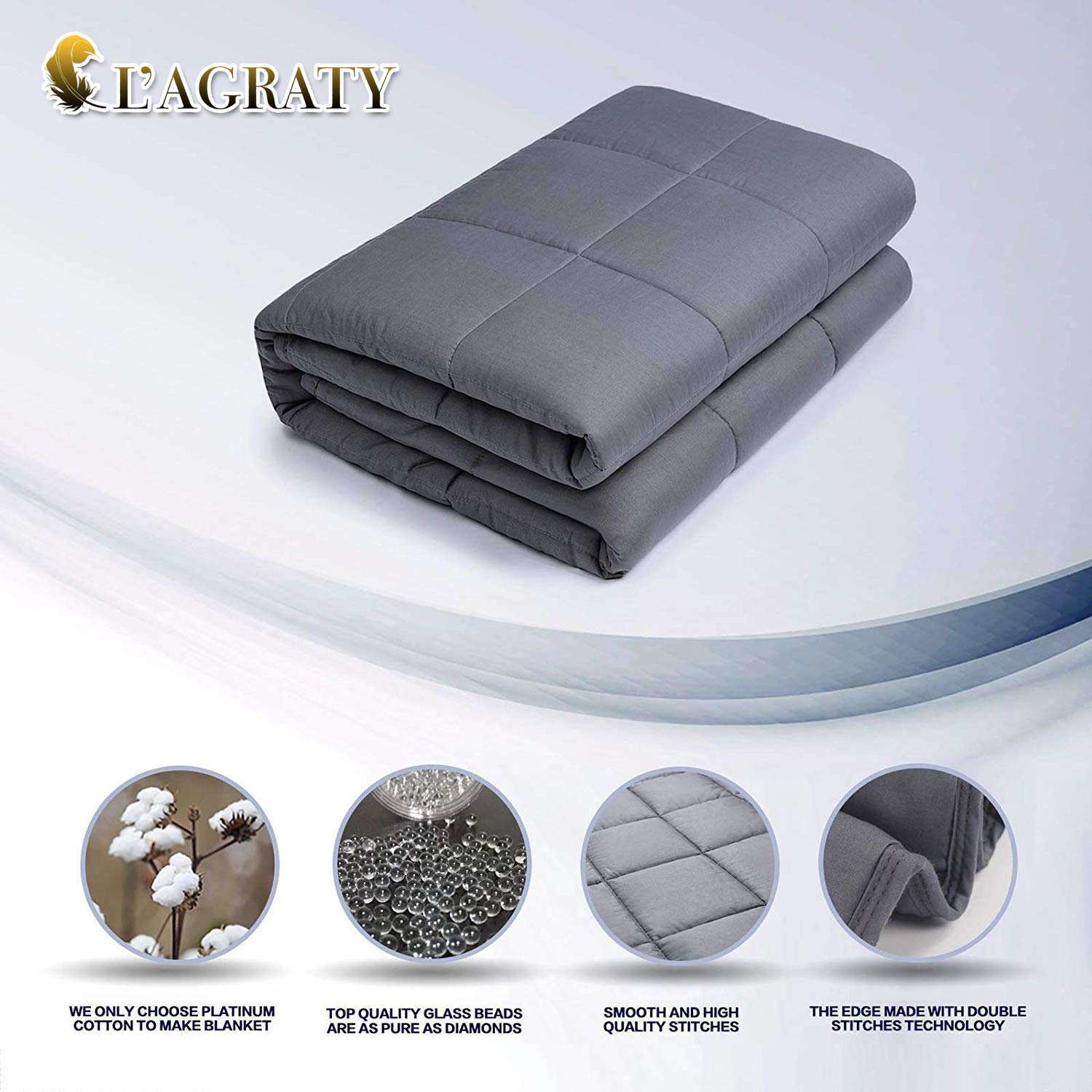 L'AGRATY Weighted Blanket for Adults (15 lbs, 60''x80'', Queen Size)   2.0 Cooling Heavy Tranquility Blanket for Individual Between 120-180 lbs   100% Natural Cotton   New Technology by L'AGRATY