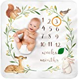 Baby Monthly Milestone Blanket Woodland - Baby Girl Gifts & Baby Boy Gifts - Watch Me Grow Woodland Nursery Décor…