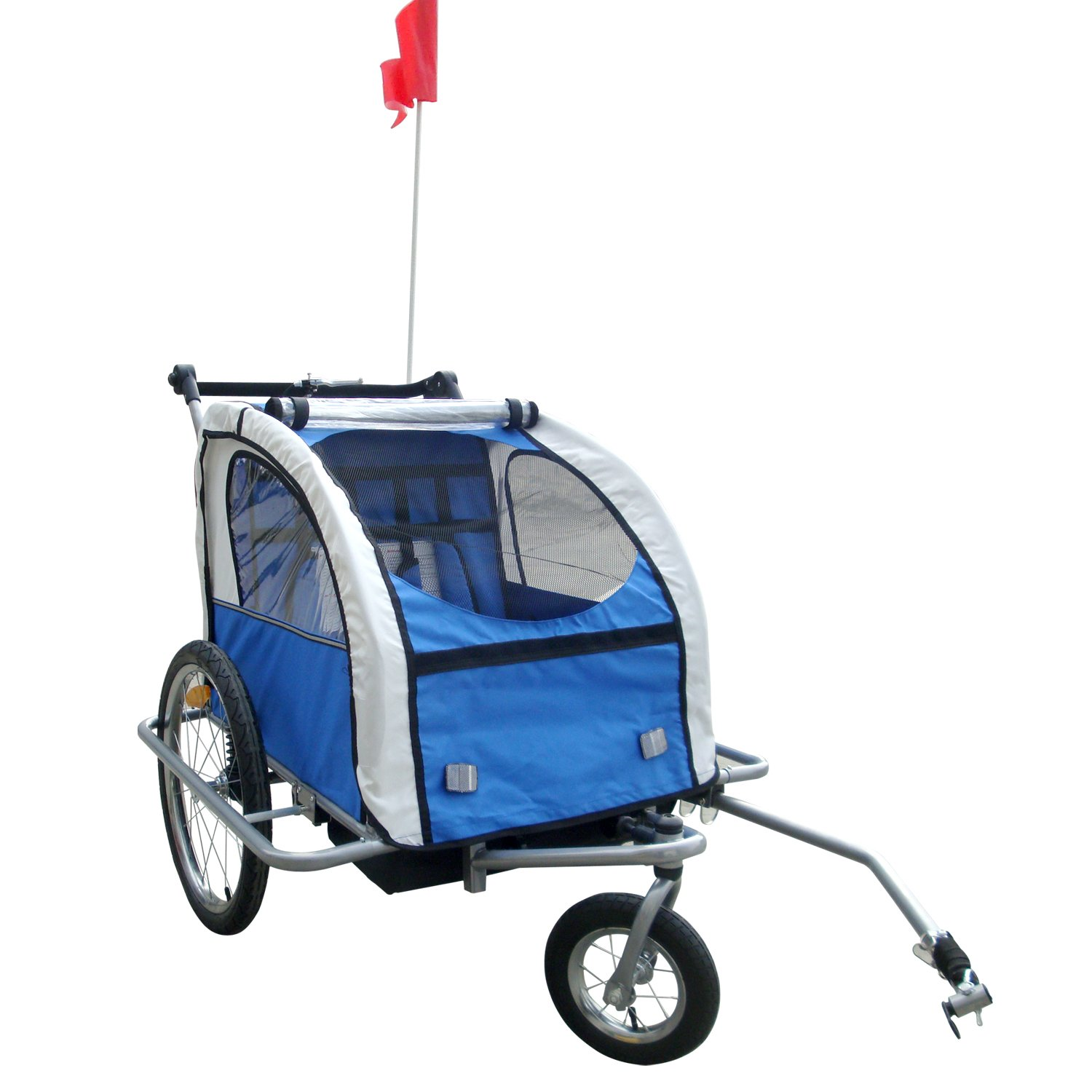Tenive 2 in 1 Double Child Bike Bicycle Trailer 4 Color Choice, Blue