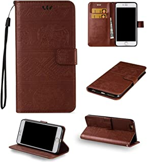 iPhone 6 Cute Elephant Pattern Case,[Stand Feature] [2 Card Slots] [Money Pocket] Synthetic Leather 4.7inch iPhone 6 Wallet Case with Screen Protector And Stylus Pen (brown)