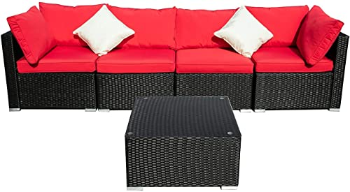 DOIT Outdoor Rattan Patio Garden Sofa,Wicker Patio Sectional Furniture Sofa Outside,Party Sofa Conversation Set