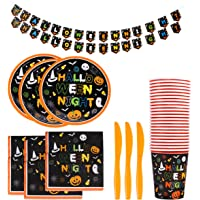 Toyvian 97pcs Halloween Party Supplies Set Includes Paper Plates Knives Cups Napkins and Banner Halloween Tableware…