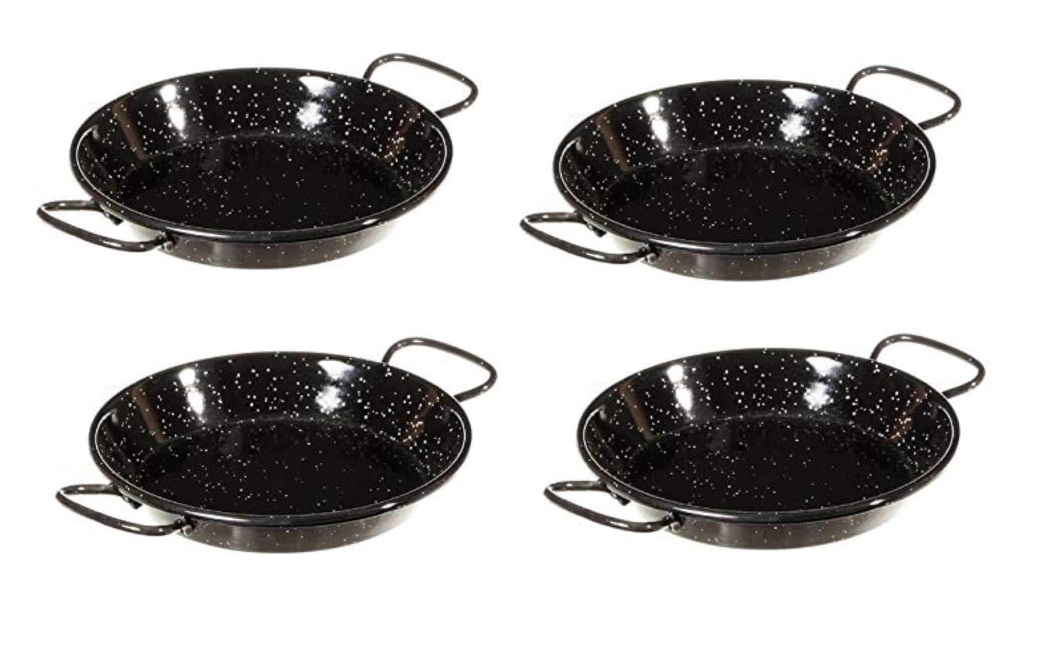 Mini Paella pan/Tapas Dish 4.75'' (12cm) Enameled Steel Pan - SET OF 4 - [ GREAT VALUE! ]