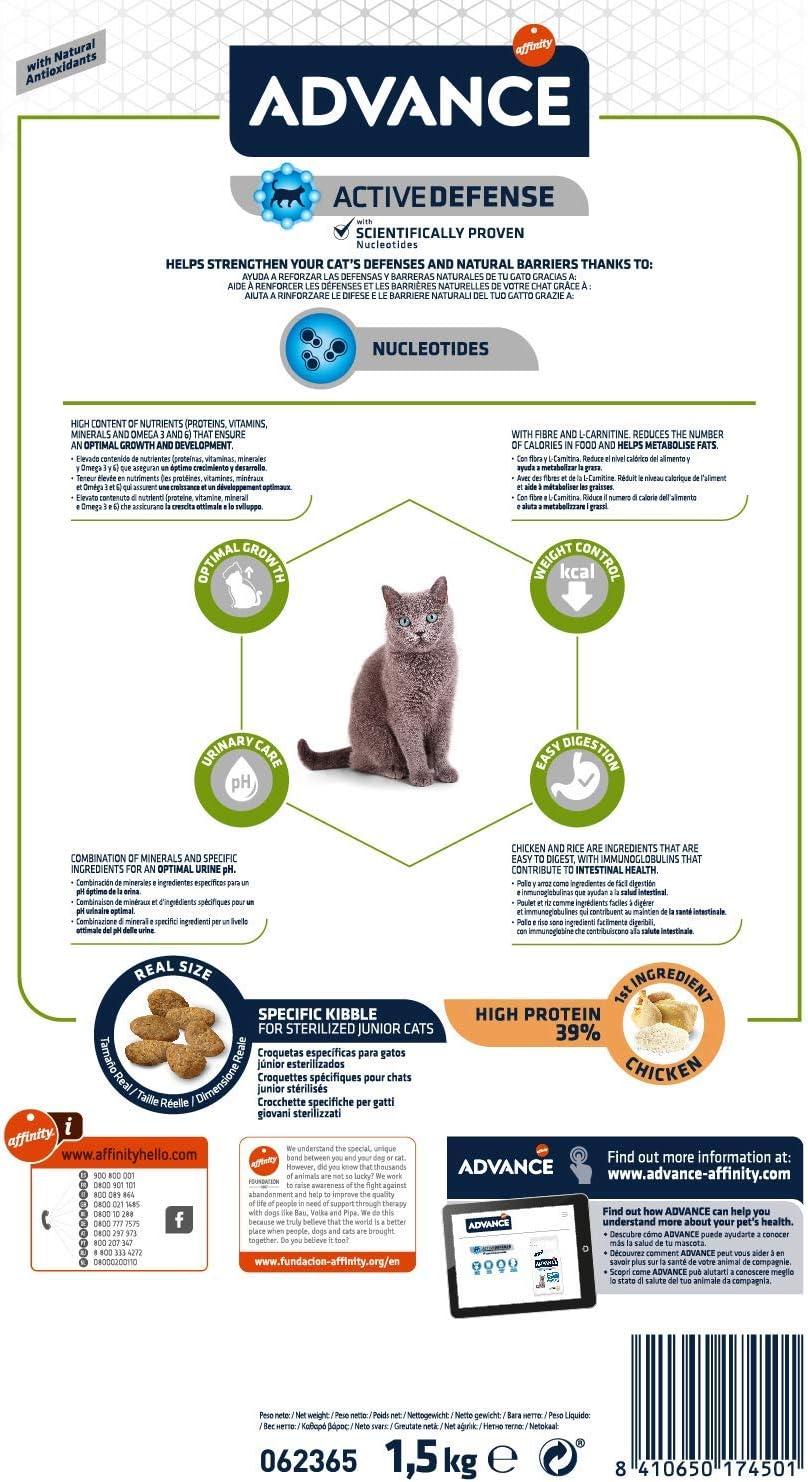 Advance Pienso para Gato Junior Esterilizado con Pollo - 1 ...