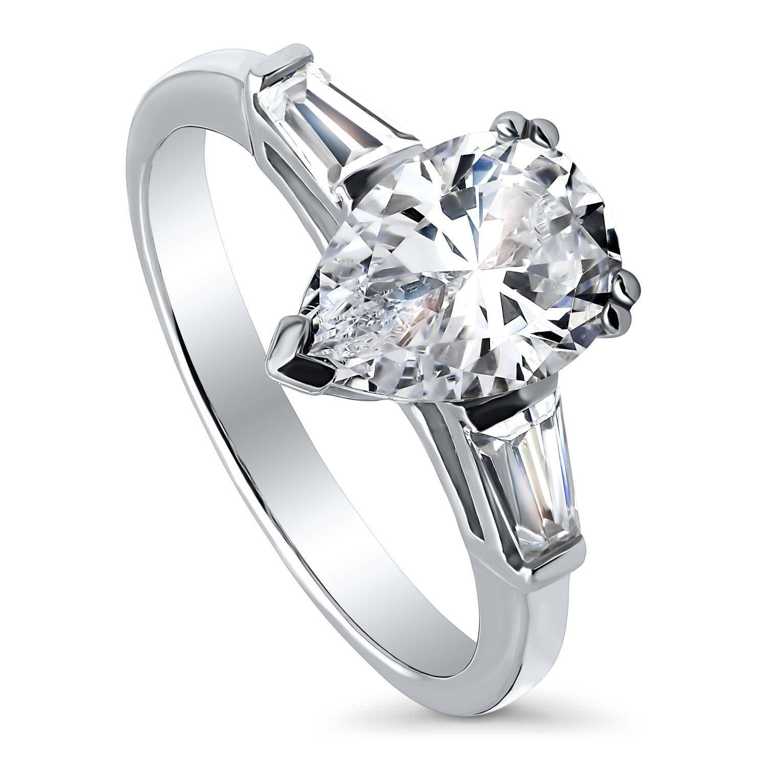 BERRICLE Rhodium Plated Sterling Silver Pear Cut Cubic Zirconia CZ 3-Stone Engagement Ring Size 6.5