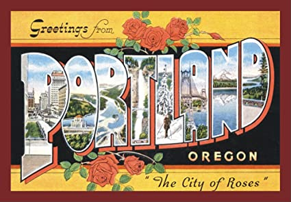 Amazon com: Greetings from Portland Oregon, Postcard Art, OR