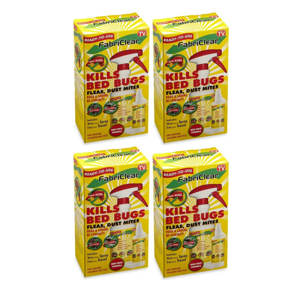 Fabriclear Bed Bug Spray, 16 Ounce Spray and 2 Ounce Travel Size Bottle (4 Box)