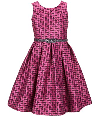 Bonnie Jean Big Girls Plus Size Sleeveless Dot Metallic Brocade Holiday  Party Dress, 7-16