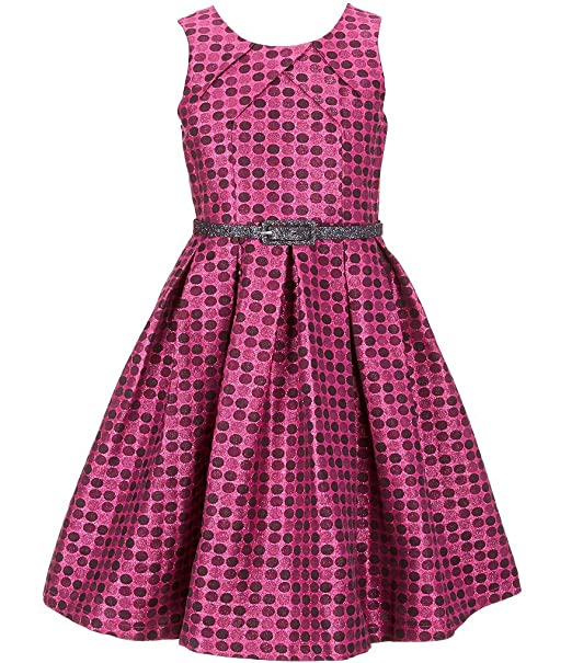 Bonnie Jean Big Girls Plus Size Sleeveless Dot Metallic Brocade Holiday  Party Dress, 7-16