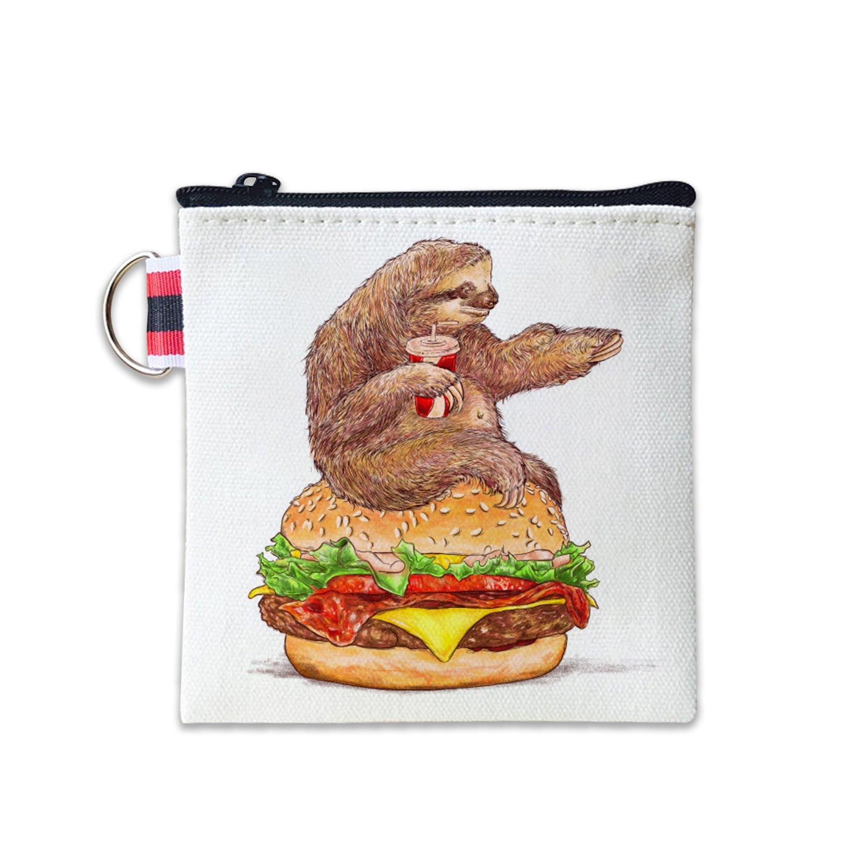 Sloth Hamburger Canvas Coin Purse Cash Bag Small Zipper Purse Wallets Mini Money Bag Change Pouch Key Holder Double Sides Printing