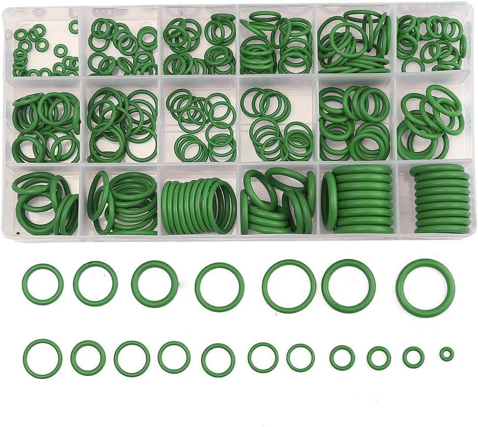 KKmoon Gummi O-Ring 270tlg R134A Dichtungssatz set Auto Klimaanlage O-Ring Unterlegscheibe Dichtungen mit Plactics Box Kit