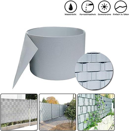 HENGMEI 2.5m X 19cm Privacidad PVC Protección Visual Rayas con Valla Protector de Pantalla Fijación Clipse Valla Valla de jardín, Gris: Amazon.es: Jardín